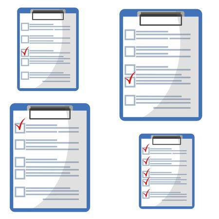 Clipboard with red check mark checklist icon. Elections. List of completed assignments, cases, survey, exam concepts. A clipboard with a checklist icon for a website and mobile application.