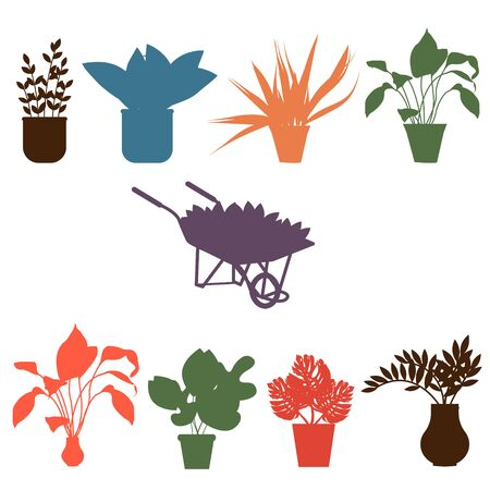 Silhouettes of indoor plants. Gardening, garden cart with beautiful flowers, different flowers and plants in pots and vases. Ilustração