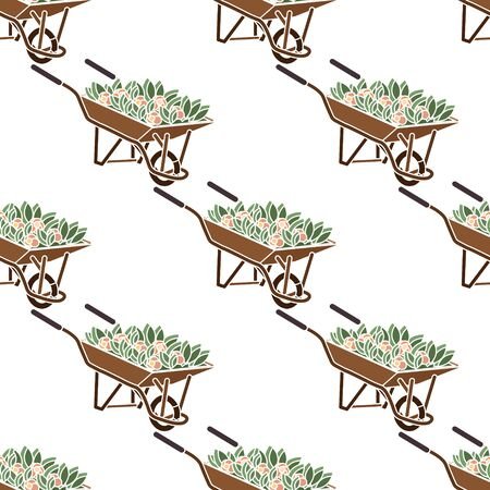 Seamless pattern. Wheelbarrow brown with red flowers and green leaves. Ilustração
