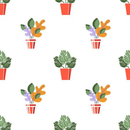 Tropical flowers in a pot. Beautiful seamless vector pattern with tropical palm leaves.