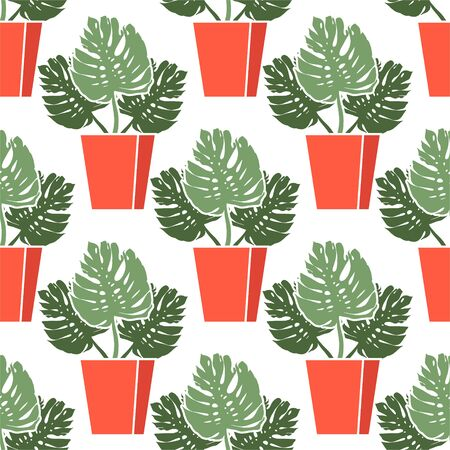Monstera in a pot. Beautiful seamless vector pattern with tropical palm leaves