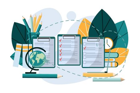 Checklist concept. Clock, globe, pencils, folders and books. Successful completion of business tasks.
