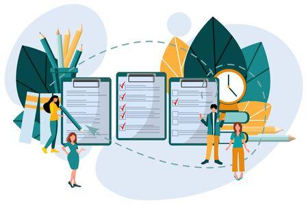 Concept of online exam, questionnaire, online education, survey, online quiz. Ilustração