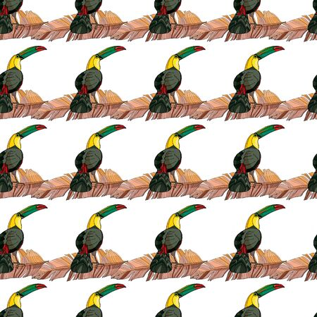 Seamless pattern toucan and palm branches. Beautiful drawings. art print for travel and leisure, fashion, spa and wellness, weddings, wallpapers, wrapping paper, scrapbooking Reklamní fotografie - 150060062