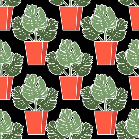 Monstera in a pot. Beautiful seamless vector pattern with tropical palm leaves. Summer ornament. Ideal for wallpapers, web page backgrounds, surface textures, textiles.