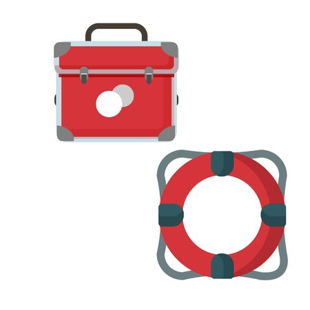Cartoon lifebuoy, first aid kit, emergency box. Insurance symbol, colorful illustration on a white background, summer, sea, vacation, travel. Lifeguard tool. Icon, design element for banners, posters.