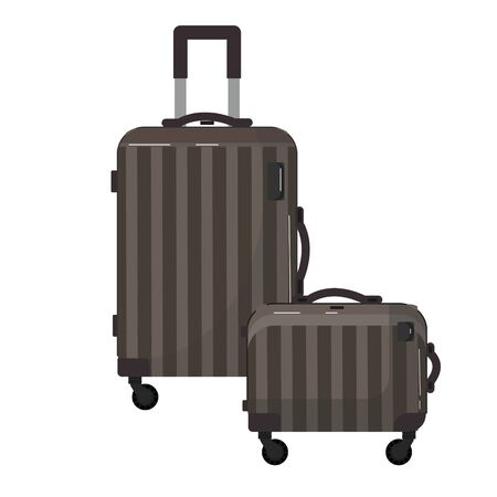 Two travel brown plastic suitcases. Bag on wheels for business trip, summer vacation, travel. Foreground. Polycarbonate suitcase with wheels isolated on white. Traveler. Ilustração