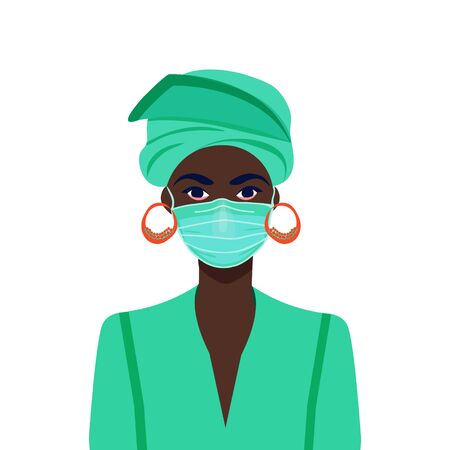 Black life matters. African american girl in the mask. COVID-19 conceptual vector illustration. Protection against coronavirus or respiratory virus. Prevention of respiratory tract infections.