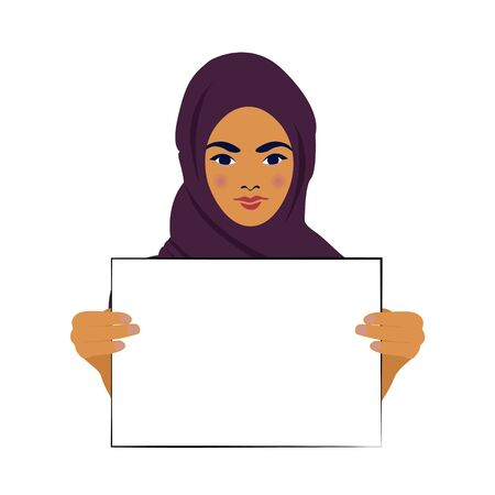 Girl student holds a poster at the rally, elections, picket. Female protest. The striking woman takes part in the parade. Rally for women s rights. Vector illustration on a white background.