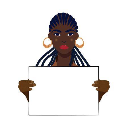 African American girl holds a poster at a rally, election, picket. Female protest. The striking woman takes part in the parade. Rally for women's rights. Vector illustration on a white background. Ilustração