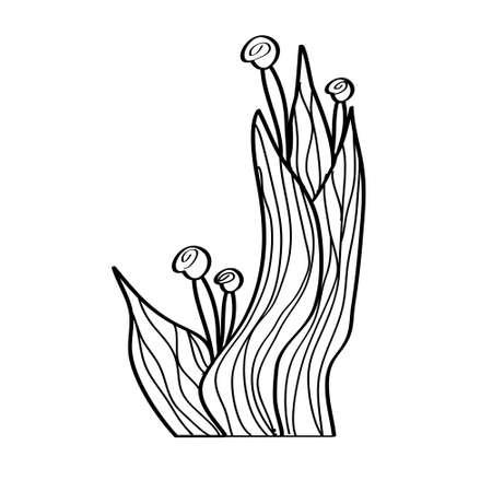 black silhouette of a plant on a white background. Flower pattern. Ethno style. Decorative art. Ilustração