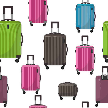 Seamless pattern of large travel plastic suitcases. Bag on wheels for business trip, summer vacation, travel. Foreground. Polycarbonate suitcase with wheels isolated on white. Traveler. Ilustração