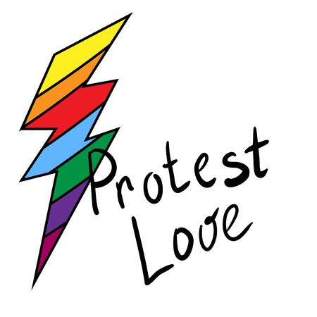 Rainbow Lightning. LGBT pride or rainbow flag with a heart pattern. Gay flag colored illustration. Caption protest of love. Decor element, sticker, logo, print.