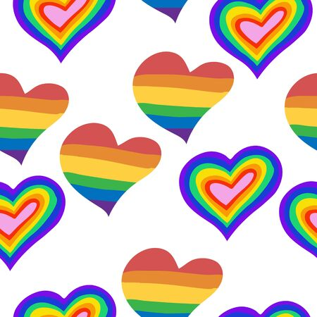 Seamless pattern with rainbow hearts. LGBT pride or rainbow flag with a heart pattern. Gay flag colored illustration. Fashionable stylish texture. For print and textile, wallpaper, wrapping paper.