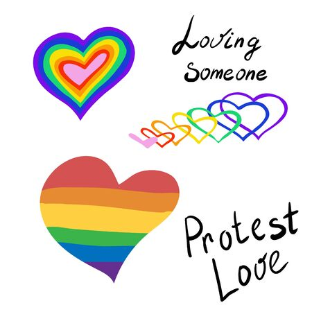The heart of the rainbow. LGBT pride or rainbow flag with a heart pattern. Gay flag colored illustration. Caption to love someone, protest love. Decor element, sticker, logo, print.