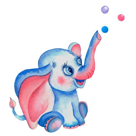 Watercolor elephant with balloons. Romantic deep elephant with pink ears. Sweet animals. watercolor elephant in a golden crown. For children's invitations, birthdays, children clothing design. Banco de Imagens