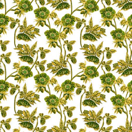 Seamless pattern. Hellebore Flower, bud and leaf. Floral design elements. Botanical illustration. Vintage style. Blue and white. Ink. For the design of wedding invitations, textiles, paper.