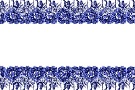 seamless border. Hellebore Flower, bud and leaf. Floral design elements. Botanical illustration. Vintage style. Blue and white. Ink. For the design of wedding invitations, textiles, paper.