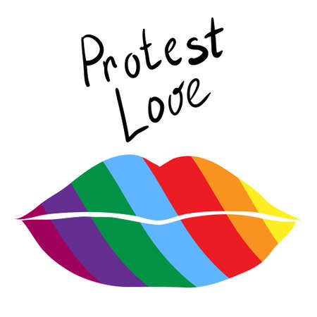 Lips with the colors of the LGBT flag. Lettering - fight and protest for homosexual rights. The power of lesbians, gays and transgender people during a protest for freedom and tolerance Illustration