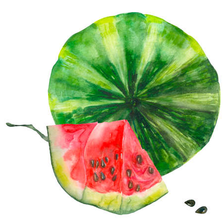 Bright watercolor watermelon. Slices and slices of red watermelon with seeds. Summer vacation and food. Watercolor. Organic, green, red. For the design of postcards, stickers, clothes, textiles, notebooks. Banco de Imagens