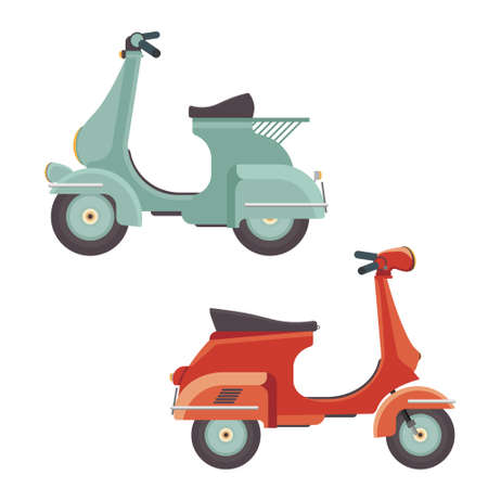Retro scooter. Side view. Detailed image of an old motorcycle. Moped vector illustration isolated on white. Vector Illustratie