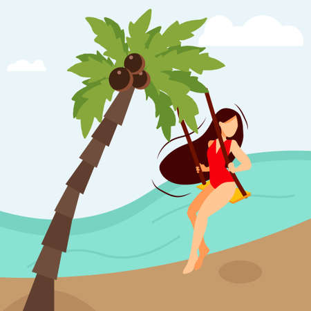 Young happy girl on the beach sits on a swing among palm trees. Travelling, summer vacation concept. Illustration