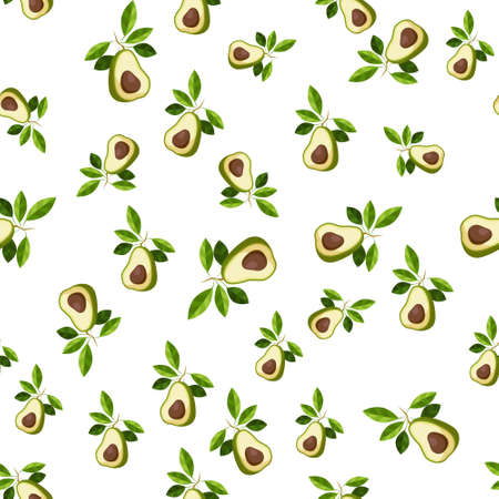 Avocado seamless pattern. Whole avocado with leaf. Texture for eco and healthy food Ilustrace