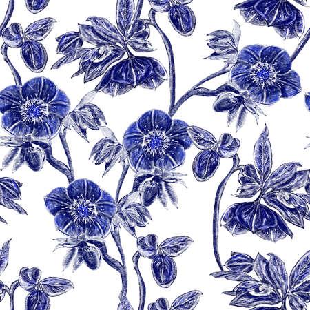 Seamless pattern. Hellebore Flower, bud and leaf. Floral design elements.