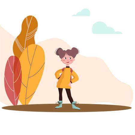 Vector illustration of a smiling girl with a backpack.