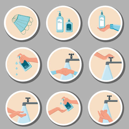 Sticker, Wash your hands icon avoid contamination, the worker must wash his hands, returning to work before leaving the room . Ilustrace