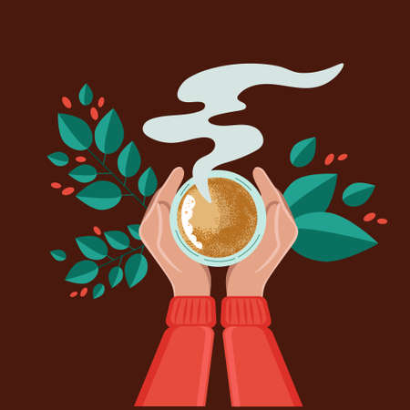 Tea coffee break, mug, hand top view. Female. Vector illustration of drinking coffee on a brown background.