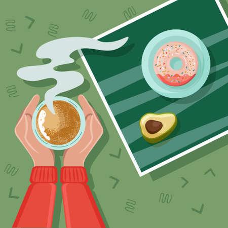 Tea coffee break, mug, hand top view. Female. Donut, avocada. Morning breakfast Ilustrace