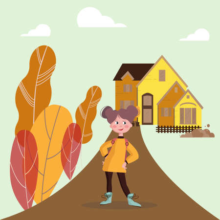 The girl goes to school. Happy child with a backpack goes to school. House in the background. Ilustrace