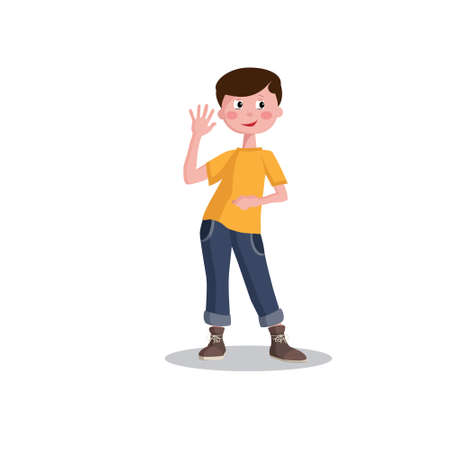 Schoolboy, smiling little boy, teenager. Isolated on a white background. 向量圖像