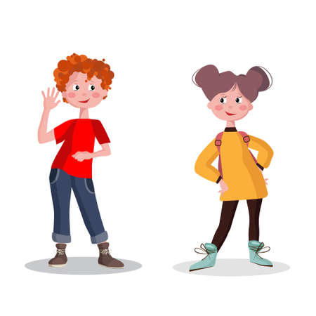 Boy and girl in full growth. Smiling school children with backpacks set isolated vector illustration.