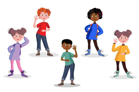 Boys and girls in full growth. Schoolchildren with backpacks set isolated vector illustration.