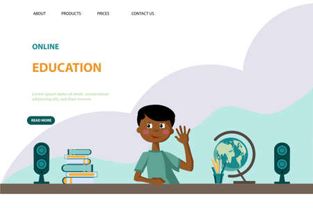 Online learning template for school students. The boy teaches lessons online.