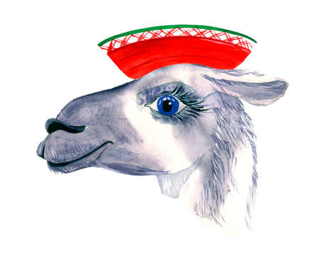 Cute hand drawn llama in national mexican hat. Funny animal Woolen Alpaca from Mexico.