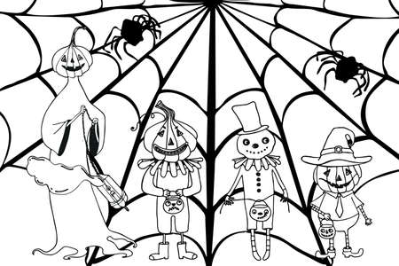 Coloring book for Halloween. Cartoon pumpkin, bats and spiders with cobwebs.