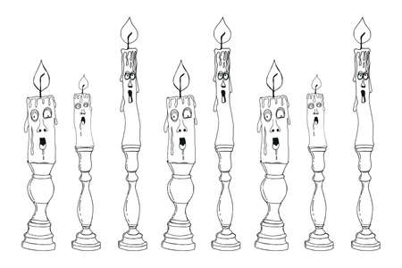 Singing candles on candlesticks are a symbol of Halloween. Cheerful, fabulous candles.