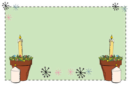 Festive postcard. Christmas card with Christmas decorations, festive New Year candles hand drawn doodles illustration.