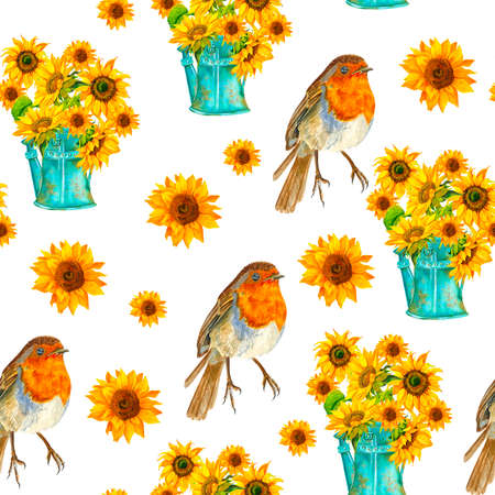 Seamless background with bouquets. Watercolor. Sunflowers, birds, watering can.