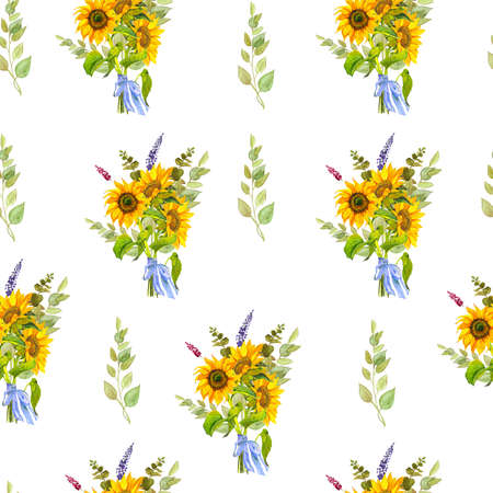 Seamless background with bouquets. Watercolor. Sunflowers, eucalyptus, bow. Reklamní fotografie