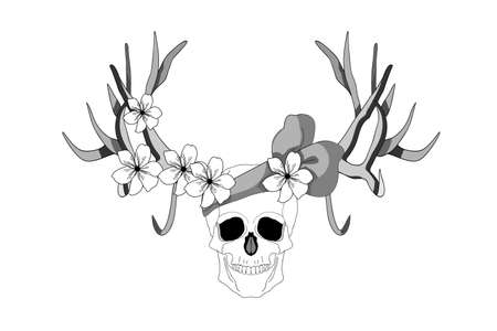 Psychedelic skull. Realistic horrible colorful black and white human skull with large sharp deer antlers and flowers.