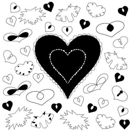 Romantic hearts. Happy valentine concept vector illustration trendy design.