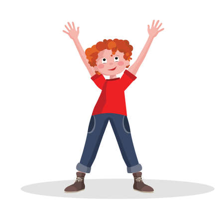 Schoolboy, smiling little boy, teenager. Isolated on a white background. Ilustrace
