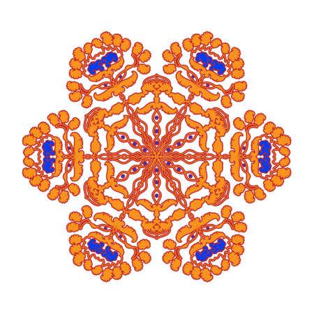Mandala india culture icon. Circular pattern in form of mandala for Henna, Mehndi, tattoo, decoration.