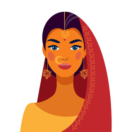 Indian woman in traditional dress. Portrait of a beautiful girl. Avatar. Face. Illusztráció