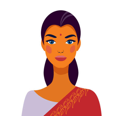 Indian woman in traditional dress. Portrait of a beautiful girl. Avatar. Face. Ilustrace