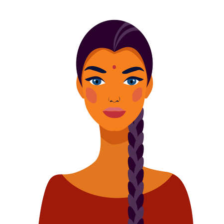 Indian girl student with braided braids. Portrait of a beautiful girl. Avatar. Face. .